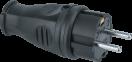 Вилка каучук прямая 2P+PE 16A 220В IP44 черная, Navigator 61368